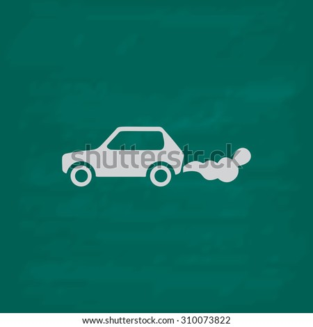 Car emits carbon dioxide.  Icon. Imitation draw with white chalk on green chalkboard. Flat Pictogram and School board background. Illustration symbol - stock photo