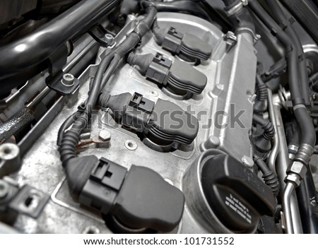 Car engine close up - stock photo