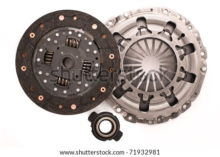 Car engine clutch. Isolated on white background. - stock photo