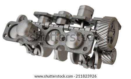 Car engine. Concept of modern car engine isolated on white background.