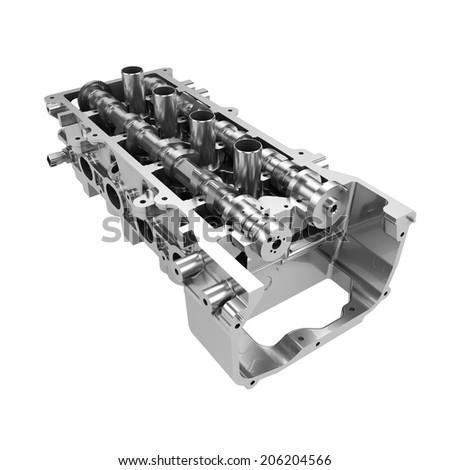 Car engine cylinder head isolated on white background - stock photo