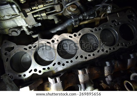 car engine detail - stock photo