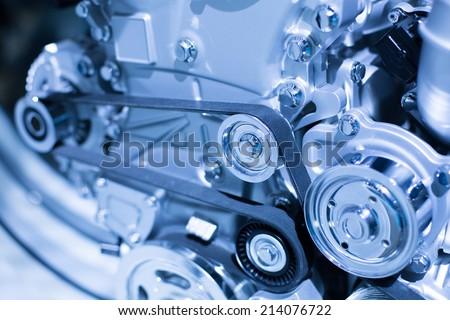 Car Engine. Driving belt - stock photo