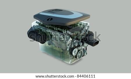 car engine isolated - stock photo