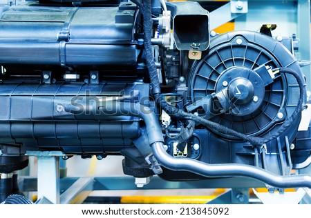 Car Engine - Modern powerful car engine(motor unit - clean and shiny - stock photo