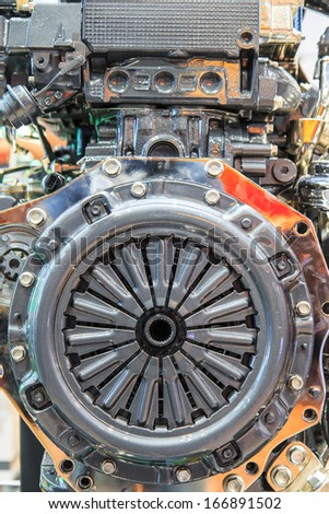 Car engine part and Clutch disc - stock photo