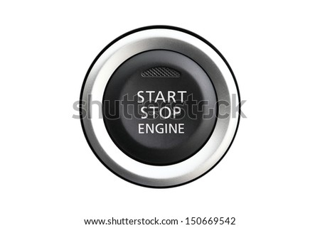 Car engine start-stop isolated on white background - stock photo