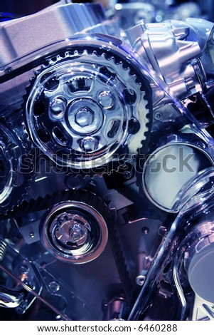 car engine (toned in blue) - stock photo