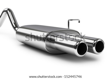Car exhaust silencer. Polishing muffler. Auto parts. Object isolated on white background.  - stock photo
