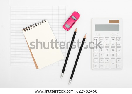 car expenses calculator payments costs paper stock photo royalty