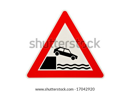 car falling in water - danger road sign warning of car falling off bank. Photo, metallic-textured sign, retouched to look like new. - stock photo