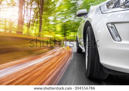 Car fast driving in a curve