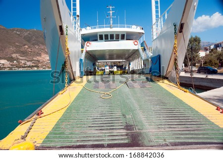 Car ferry boat in Greece linking the islands to mainland - stock photo