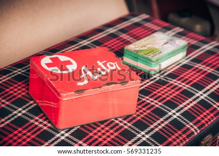car first aid kit grunge old stock photo edit now 569331235