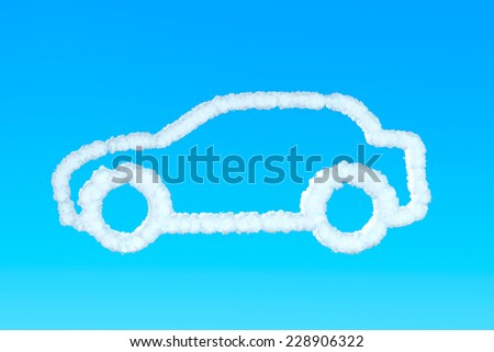 Car from clouds in the blue sky - stock photo