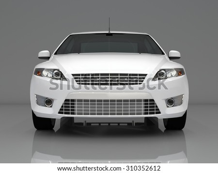Car front view. The image of a white car on a gray background. - stock photo