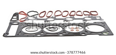 Car Gasket Set, cylinder head Separated on white background. Auto Spare parts - stock photo