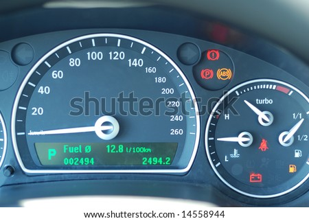 Car gauge close up, shallow DOF