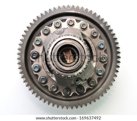 Car gearbox differential on white background.