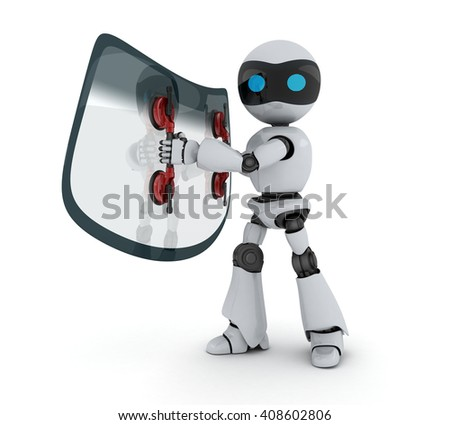 Car glass and robot on white background (done in 3d) - stock photo