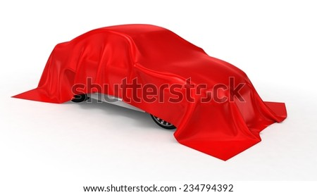 Car hidden under a cloth isolated on white - stock photo