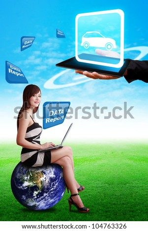 Car icon on tablet computer and woman on globe : Elements of this image furnished by NASA - stock photo