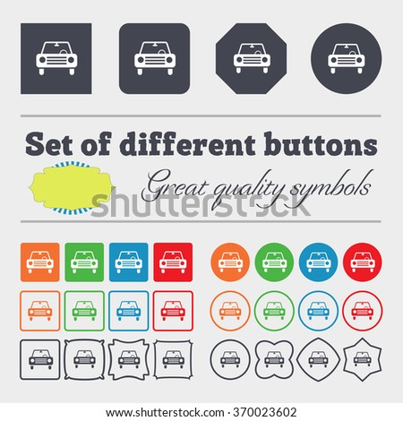 car icon sign. Big set of colorful, diverse, high-quality buttons. illustration - stock photo