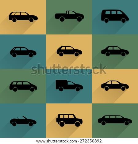 Car icons set - stock photo
