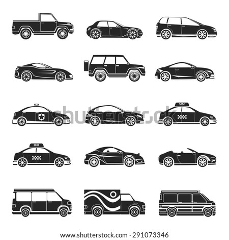 Car icons set. Hatchback and jeep, lorry and trailer, minibus and cabriolet, truck and bus, pickup and sedan