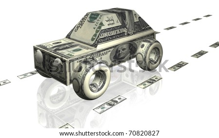 car illustration with notes of dollars - stock photo