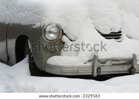 Car  in a snow - stock photo