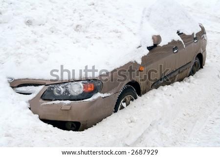 Car  in a Snow. Unhappy parking. - stock photo
