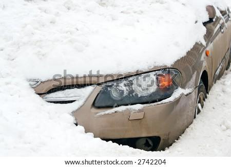 Car  in a Snow. Unhappy parking - stock photo