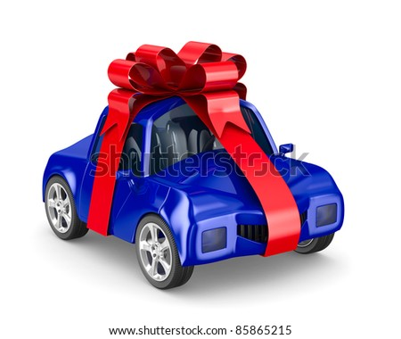 car in gift packing. Isolated 3D image - stock photo