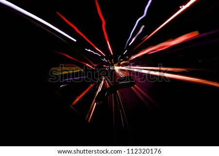 Car in motion blur - stock photo
