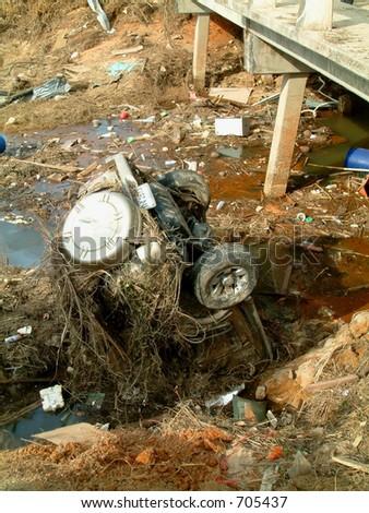 Car in river after the Tsunami, khao lak, Thailand - stock photo