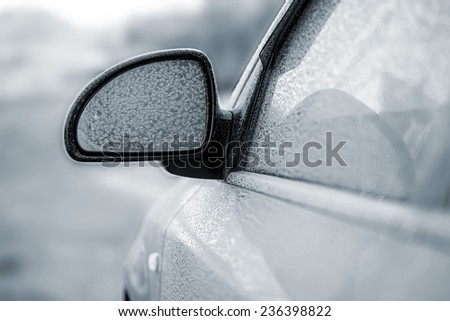 car in snow - stock photo