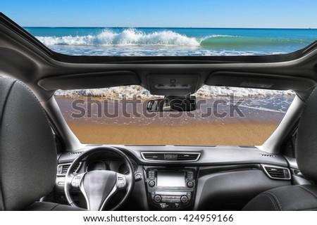 car in the beach - stock photo