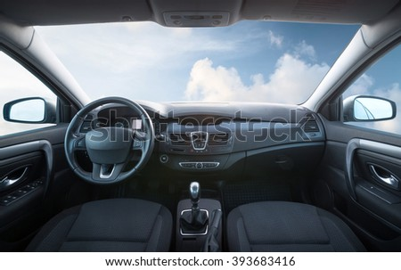 Car inside composition. Concept and idea  - stock photo