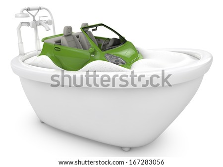 car inside the bathtub full of foam, 3d image. metaphor of car wash