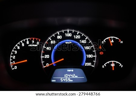 Car instrument panel with various instruments to measure RPM, Speed, Fuel, Odometer