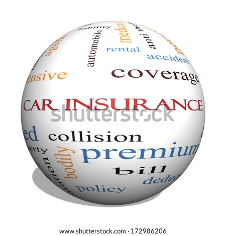 Car Insurance 3D Sphere Word Cloud Concept with great terms such as auto, claims, coverage, bill and more. - stock photo