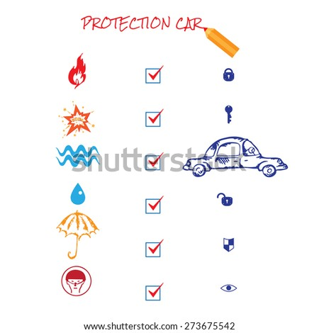 Car insurance icons set. Protection car illustration in doodle style. Cartoon cars. Different situations of car crash. On white background. Car insurance - stock photo