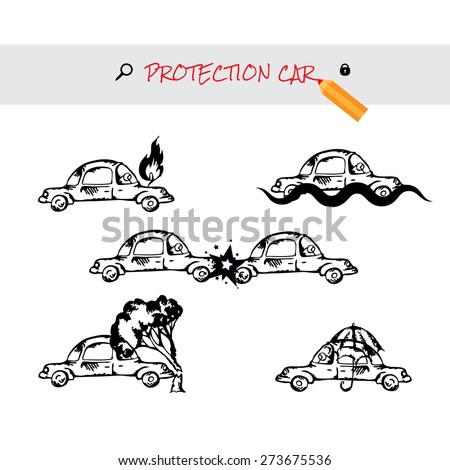 Car insurance icons set. Protection car image in doodle style. Monochromatic image on white background. Cartoon cars. Different situations of car crash. Car insurance - stock photo