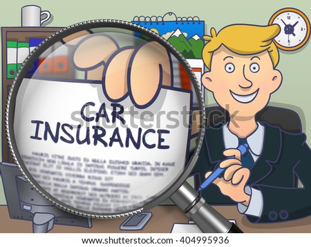 Car Insurance. Paper with Inscription in Man's Hand through Magnifying Glass. Multicolor Modern Line Illustration in Doodle Style. - stock photo