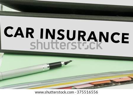 Car Insurance - Ring Binder in the office. Insurance File. Business Concept - stock photo