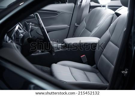 Car Interior Driver Side View. Modern Car Interior Design. - stock photo