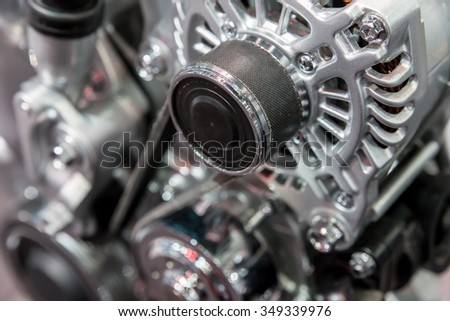 Car interior : Part of modern car engine - stock photo