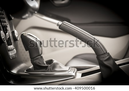 car interior transmission closeup