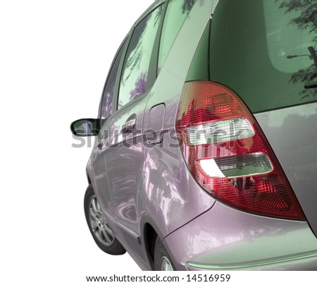 Car isolated on white. Back view. - stock photo